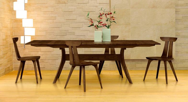Audrey Extension Table In Natural Walnut With Ingrid Chairs.